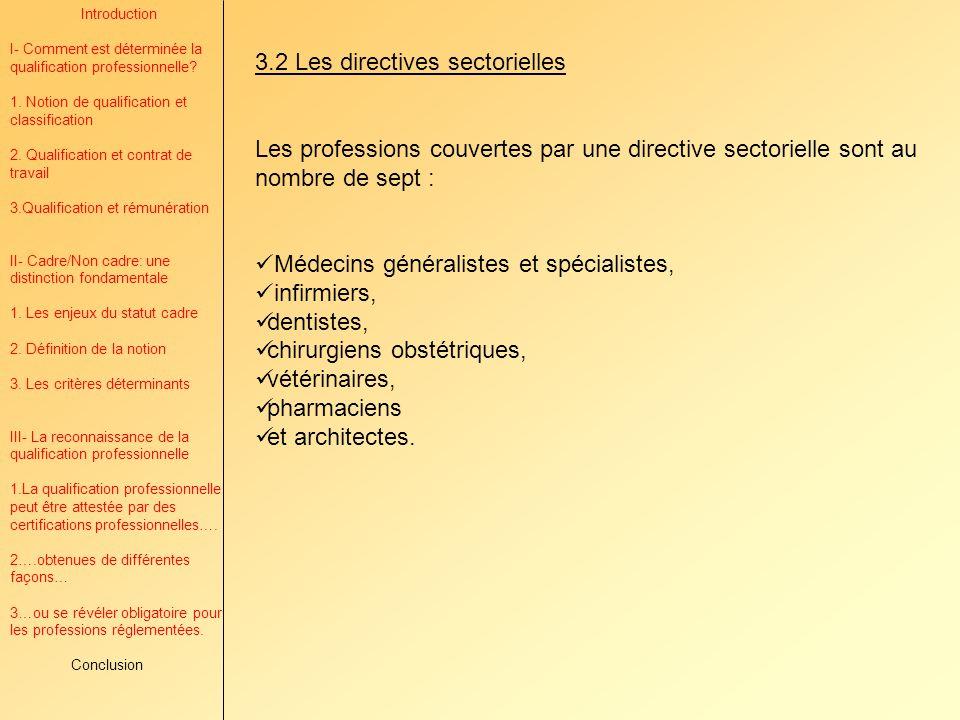 3.2 Les directives sectorielles