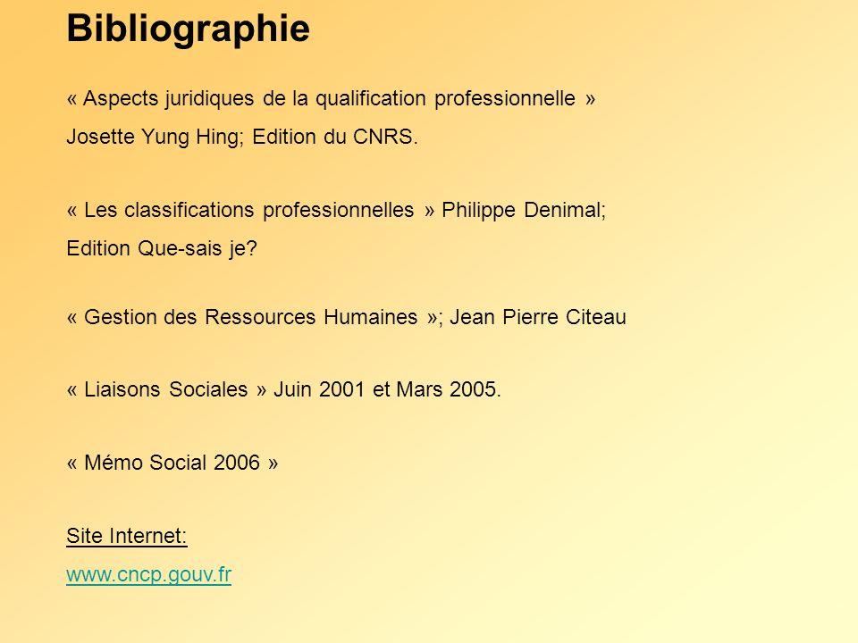 Bibliographie « Aspects juridiques de la qualification professionnelle » Josette Yung Hing; Edition du CNRS.