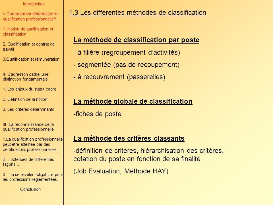 1.3 Les différentes méthodes de classification