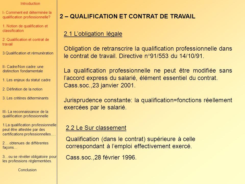 2 – QUALIFICATION ET CONTRAT DE TRAVAIL