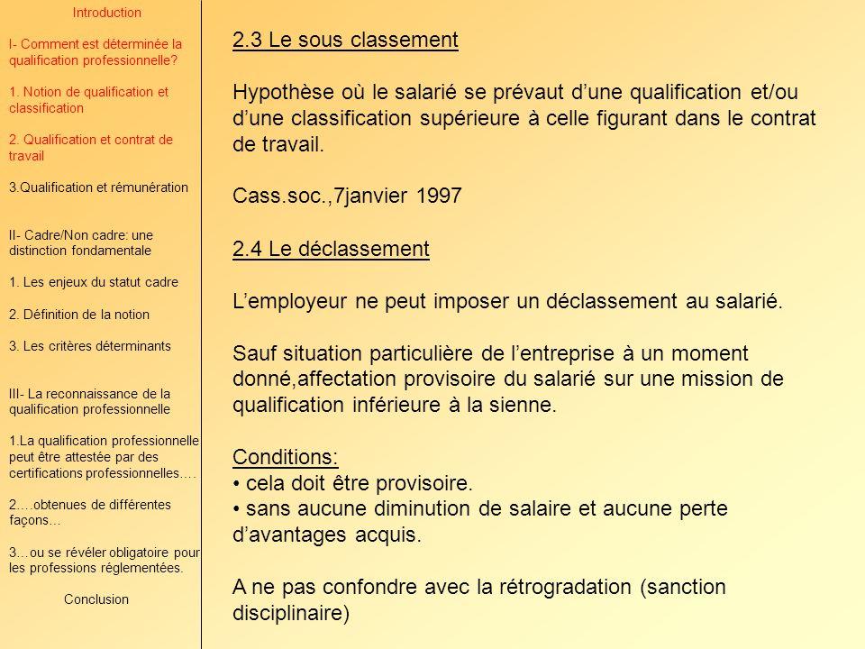 L'employeur ne peut imposer un déclassement au salarié.