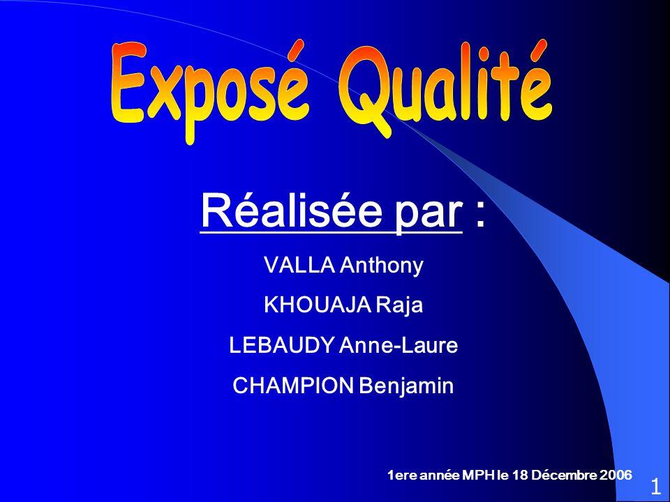 Réalisée par : Exposé Qualité VALLA Anthony KHOUAJA Raja