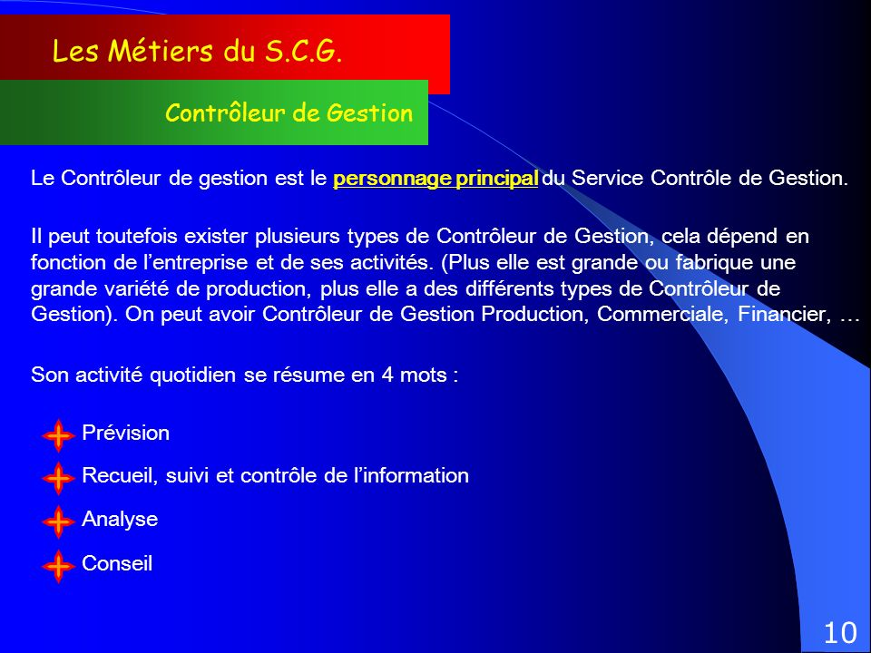 Les Métiers du S.C.G. 10 Contrôleur de Gestion