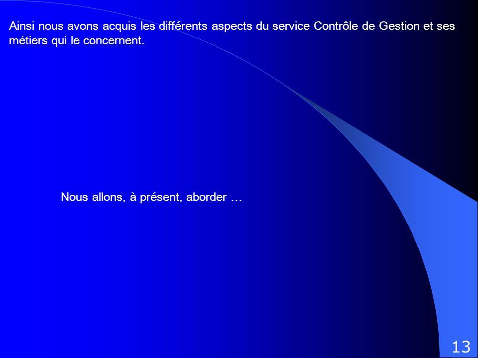Ainsi nous avons acquis les différents aspects du service Contrôle de Gestion et ses métiers qui le concernent.