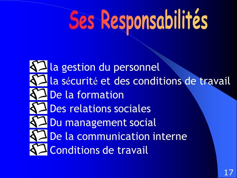Ses Responsabilités la gestion du personnel