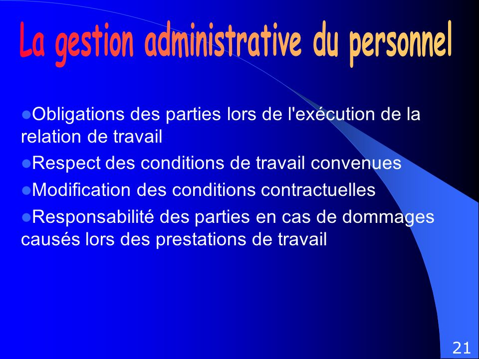 La gestion administrative du personnel