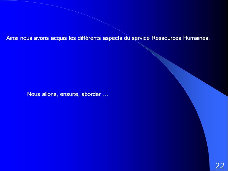 Ainsi nous avons acquis les différents aspects du service Ressources Humaines.