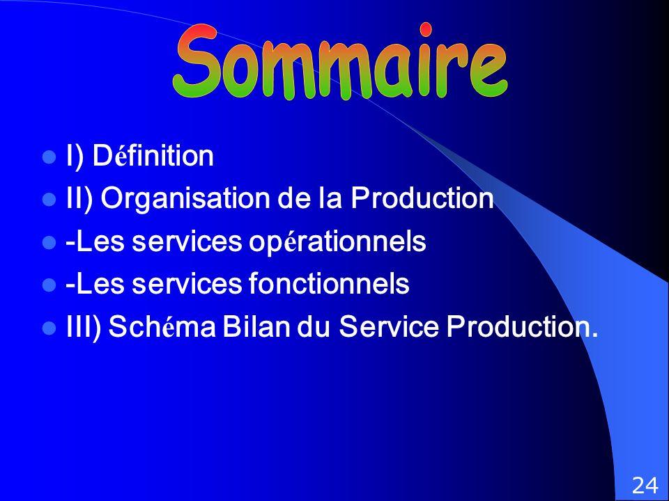 Sommaire I) Définition II) Organisation de la Production