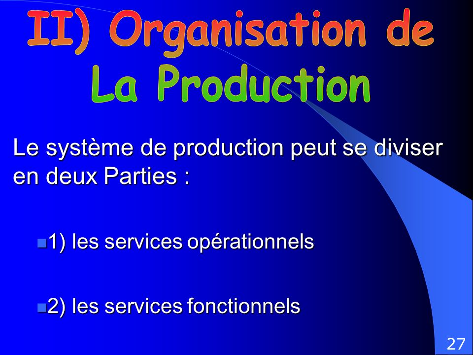 II) Organisation de La Production