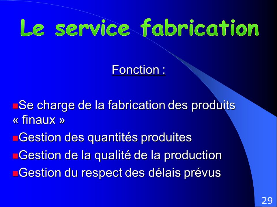 Le service fabrication