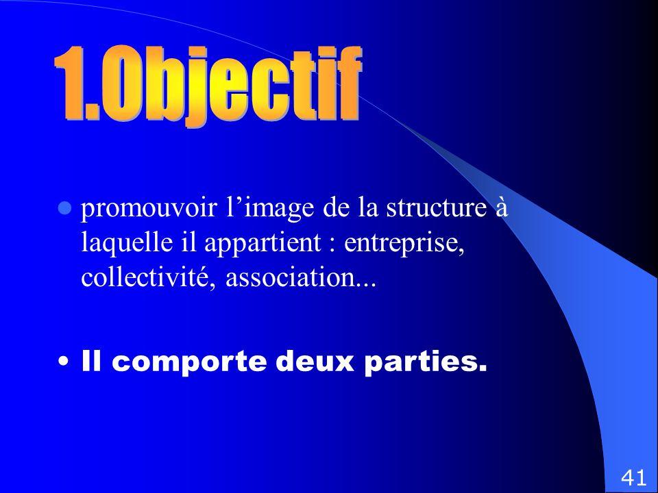 1.Objectif promouvoir l'image de la structure à laquelle il appartient : entreprise, collectivité, association...