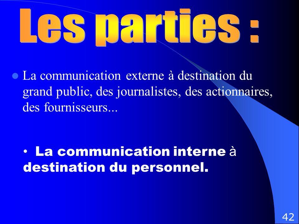 Les parties : La communication externe à destination du grand public, des journalistes, des actionnaires, des fournisseurs...