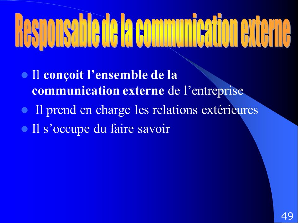 Responsable de la communication externe