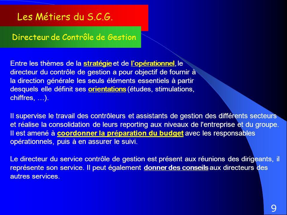Les Métiers du S.C.G. 9 Directeur de Contrôle de Gestion