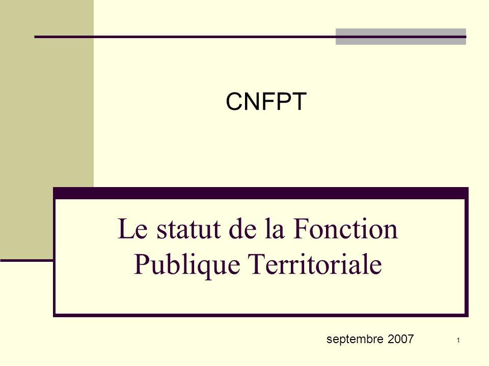 Le statut de la Fonction Publique Territoriale