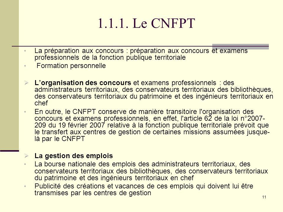 1.1.1. Le CNFPT La préparation aux concours : préparation aux concours et examens professionnels de la fonction publique territoriale.