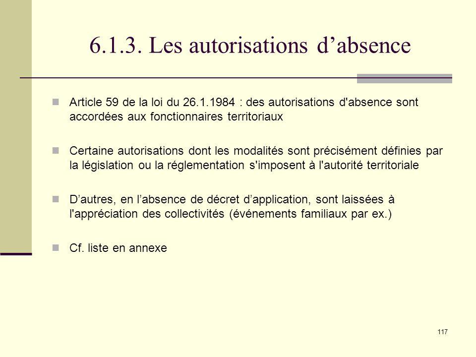 6.1.3. Les autorisations d'absence