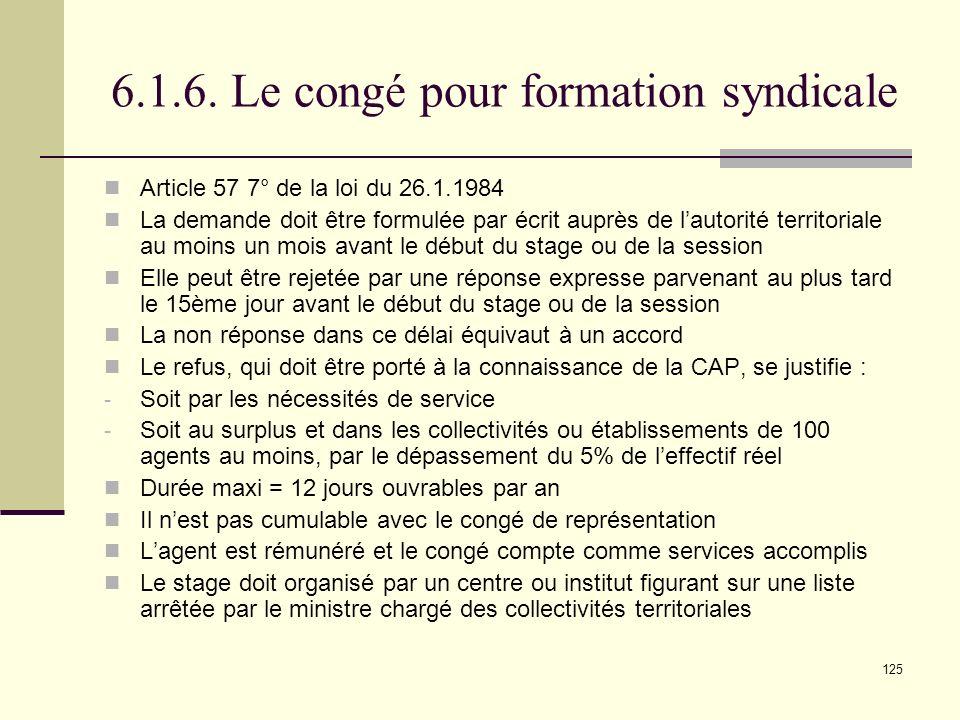 6.1.6. Le congé pour formation syndicale