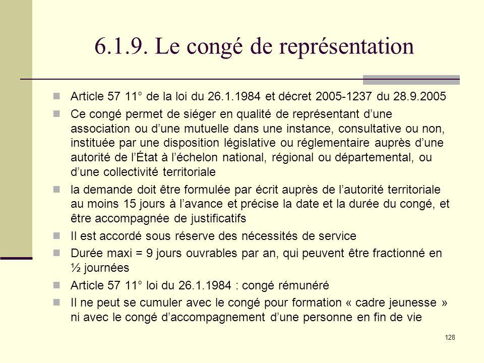 6.1.9. Le congé de représentation