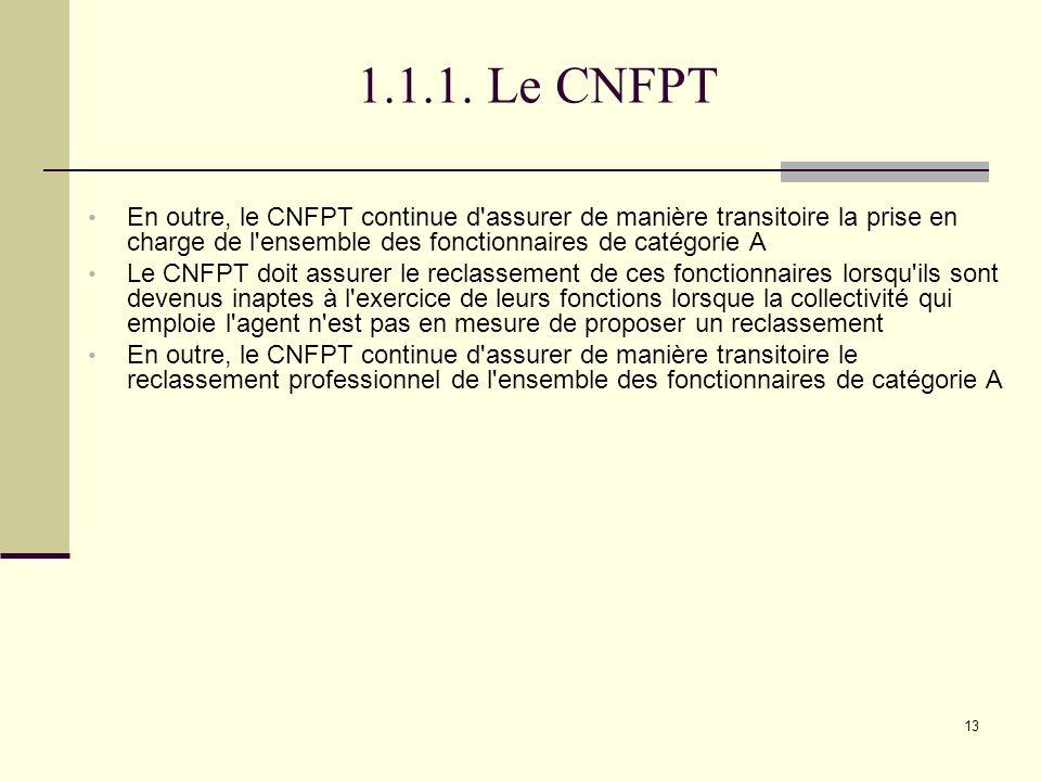 1.1.1. Le CNFPT En outre, le CNFPT continue d assurer de manière transitoire la prise en charge de l ensemble des fonctionnaires de catégorie A.