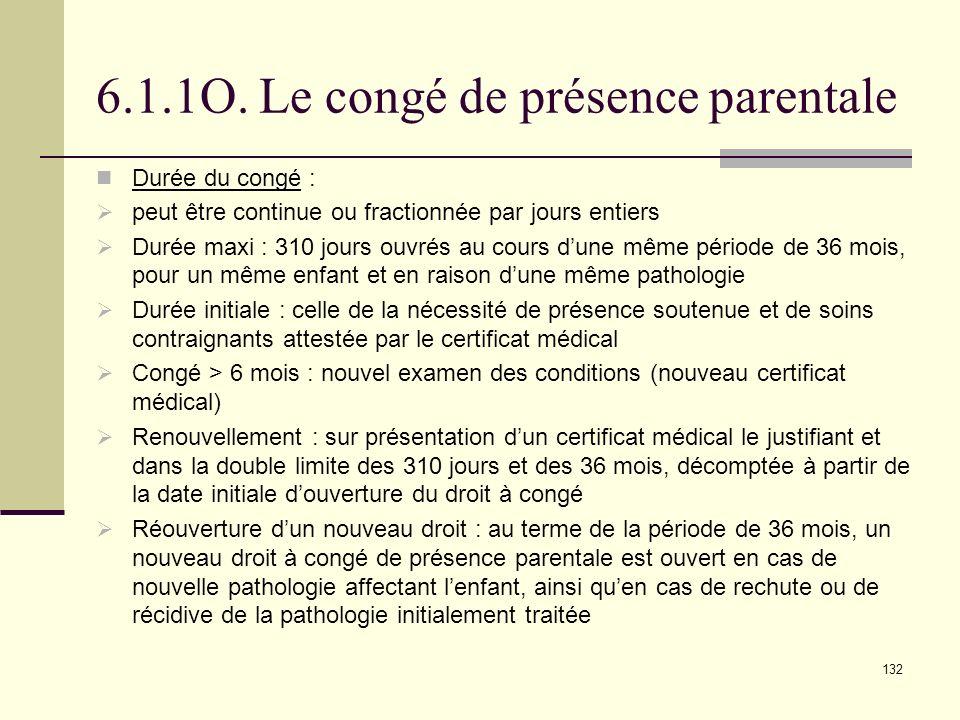 6.1.1O. Le congé de présence parentale