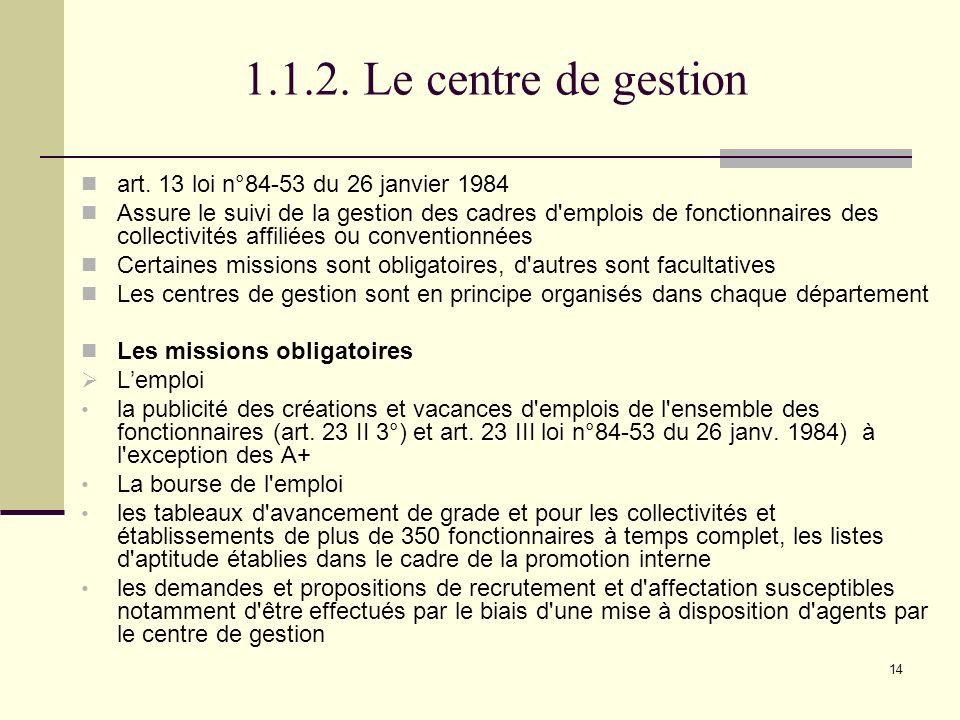 1.1.2. Le centre de gestion art. 13 loi n°84-53 du 26 janvier 1984