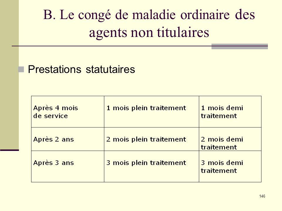 B. Le congé de maladie ordinaire des agents non titulaires