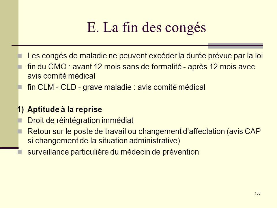 E. La fin des congés Les congés de maladie ne peuvent excéder la durée prévue par la loi.