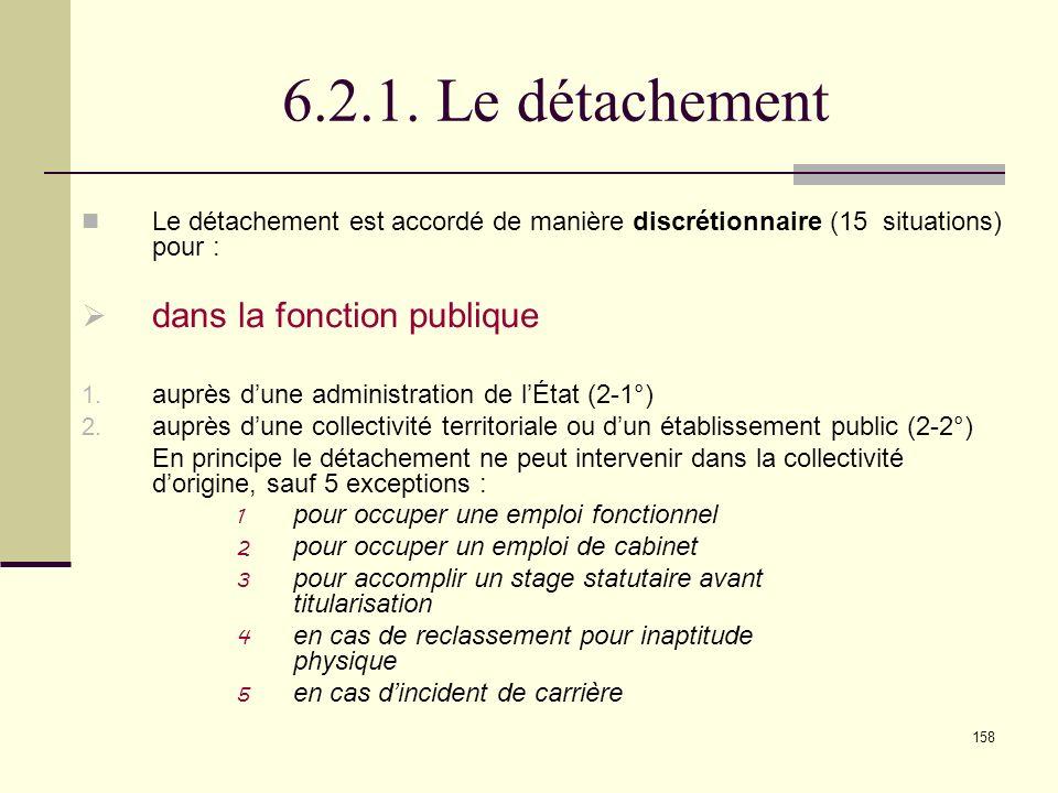 6.2.1. Le détachement dans la fonction publique