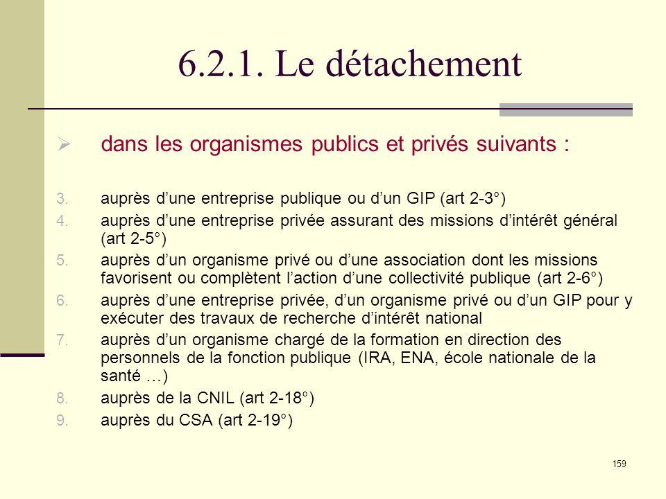 6.2.1. Le détachement dans les organismes publics et privés suivants :