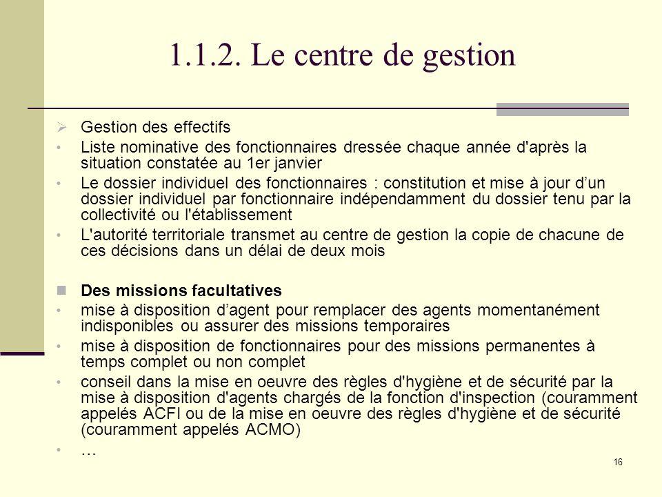 1.1.2. Le centre de gestion Gestion des effectifs