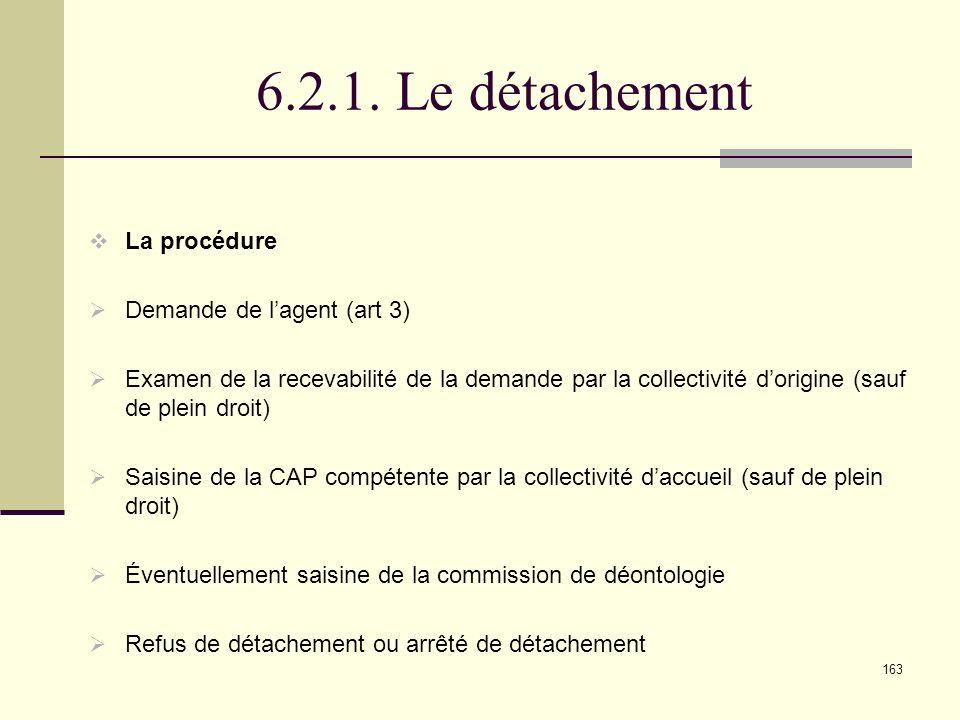 6.2.1. Le détachement La procédure Demande de l'agent (art 3)