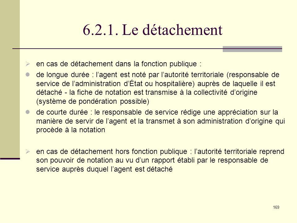 6.2.1. Le détachement en cas de détachement dans la fonction publique :