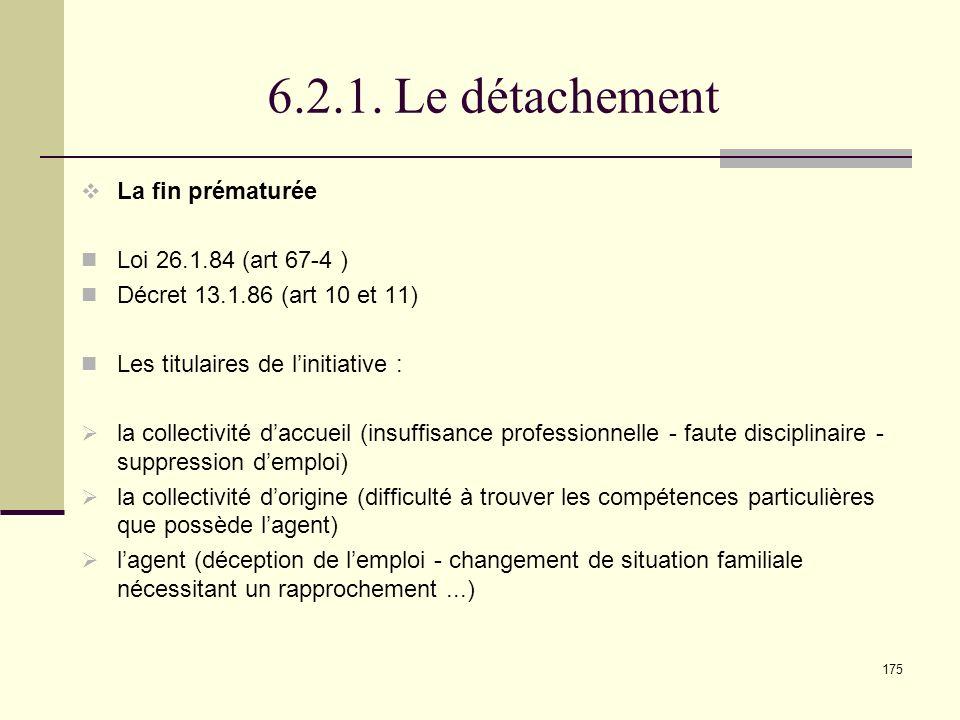 6.2.1. Le détachement La fin prématurée Loi 26.1.84 (art 67-4 )