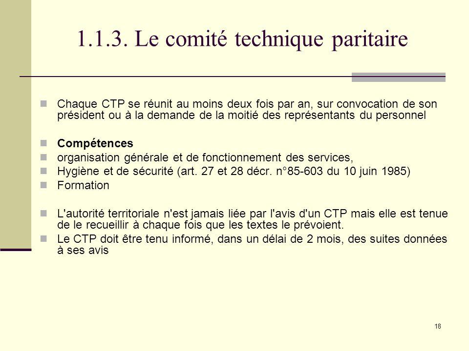 1.1.3. Le comité technique paritaire