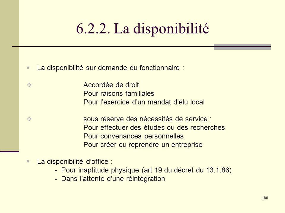 6.2.2. La disponibilité La disponibilité sur demande du fonctionnaire : Accordée de droit. Pour raisons familiales.