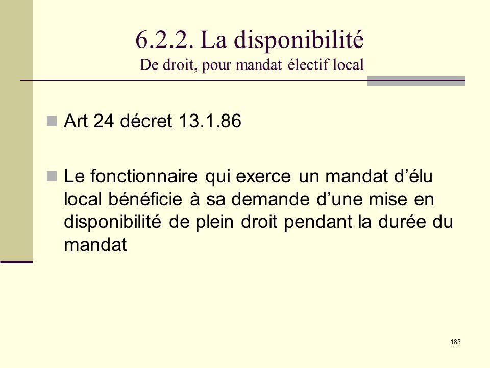 6.2.2. La disponibilité De droit, pour mandat électif local