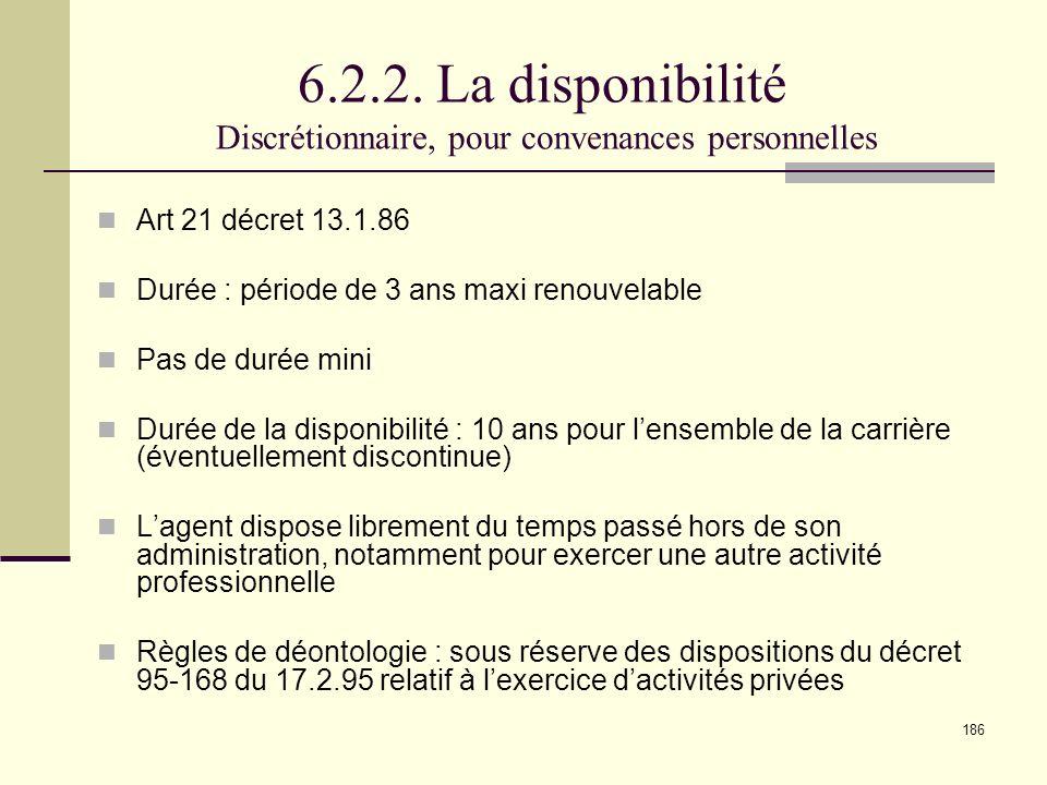 6.2.2. La disponibilité Discrétionnaire, pour convenances personnelles