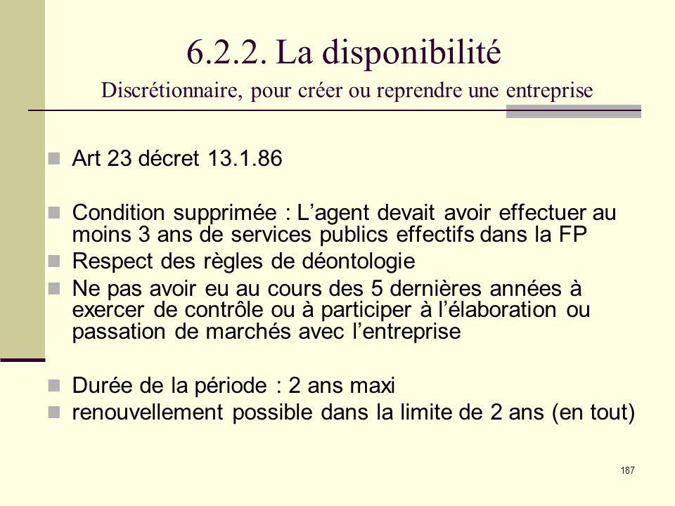 6.2.2. La disponibilité Discrétionnaire, pour créer ou reprendre une entreprise
