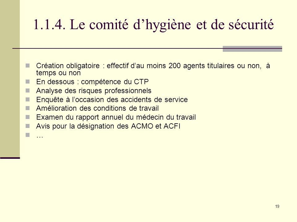 1.1.4. Le comité d'hygiène et de sécurité