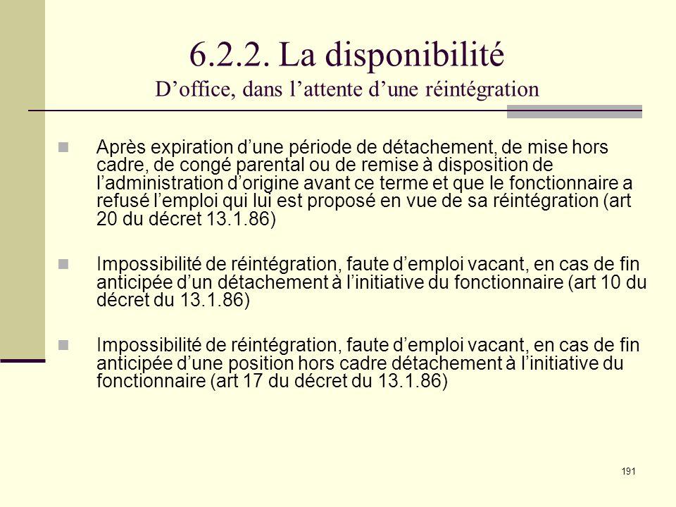 6.2.2. La disponibilité D'office, dans l'attente d'une réintégration