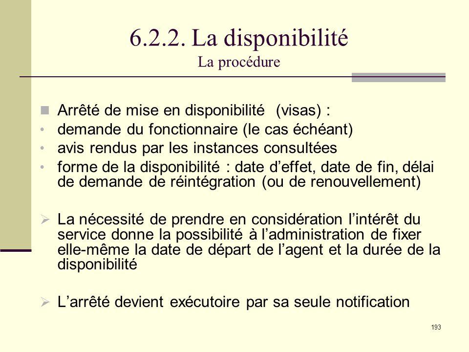 6.2.2. La disponibilité La procédure