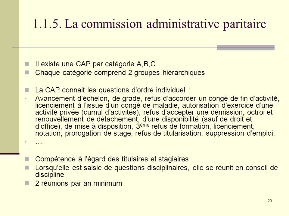 1.1.5. La commission administrative paritaire