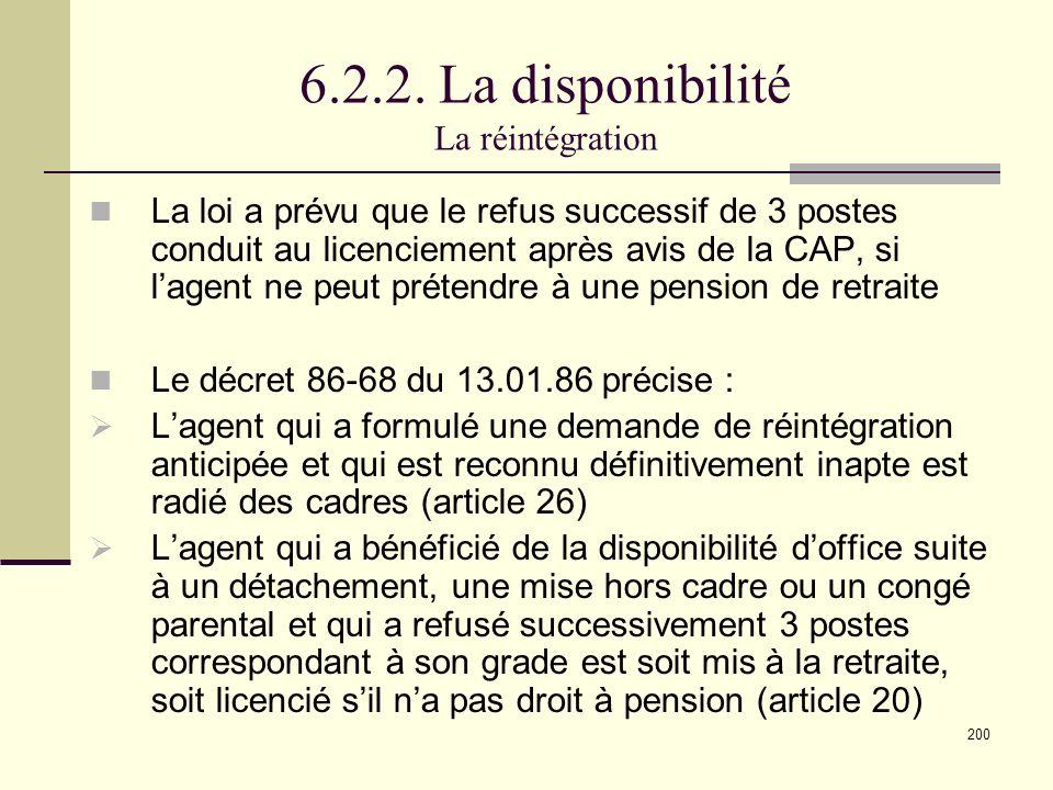6.2.2. La disponibilité La réintégration