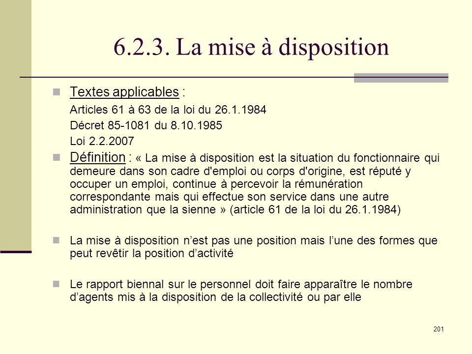 6.2.3. La mise à disposition Textes applicables :