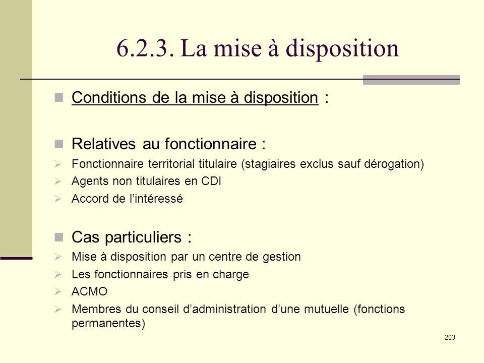 6.2.3. La mise à disposition Conditions de la mise à disposition :