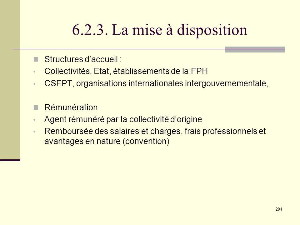 6.2.3. La mise à disposition Structures d'accueil :