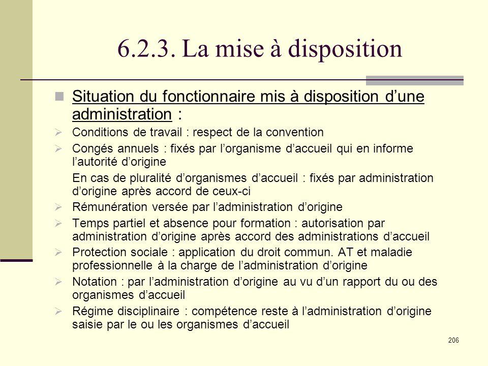 6.2.3. La mise à disposition Situation du fonctionnaire mis à disposition d'une administration : Conditions de travail : respect de la convention.
