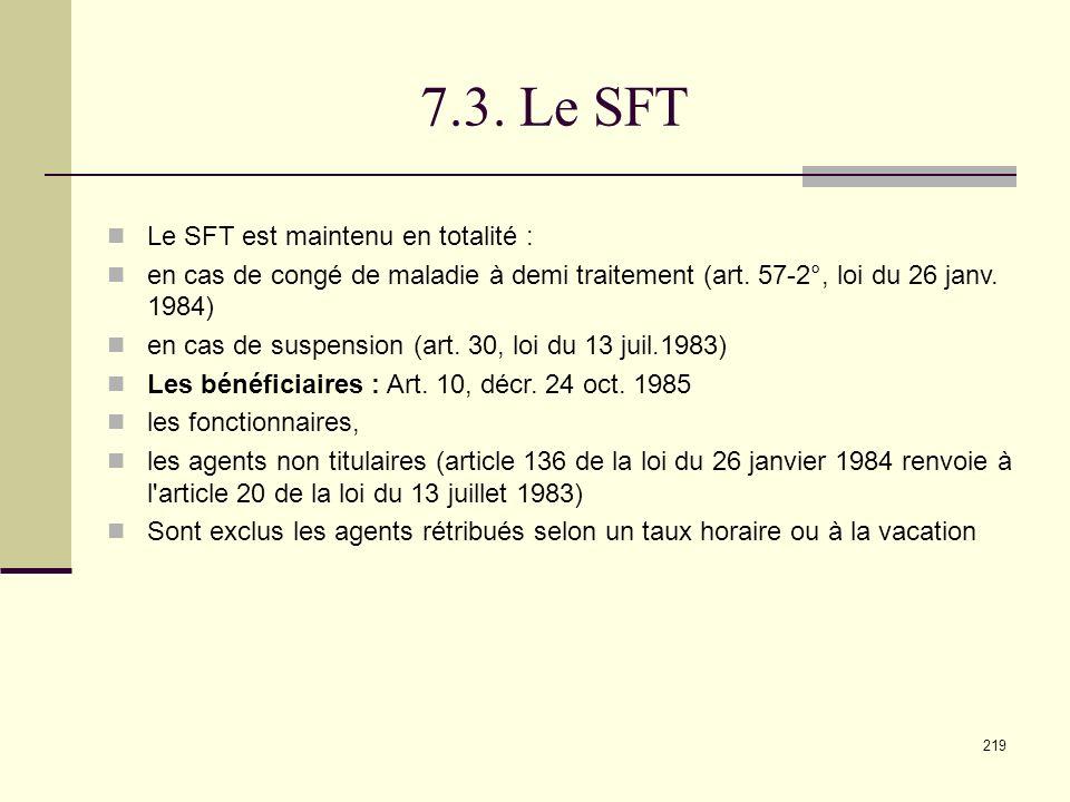 7.3. Le SFT Le SFT est maintenu en totalité :