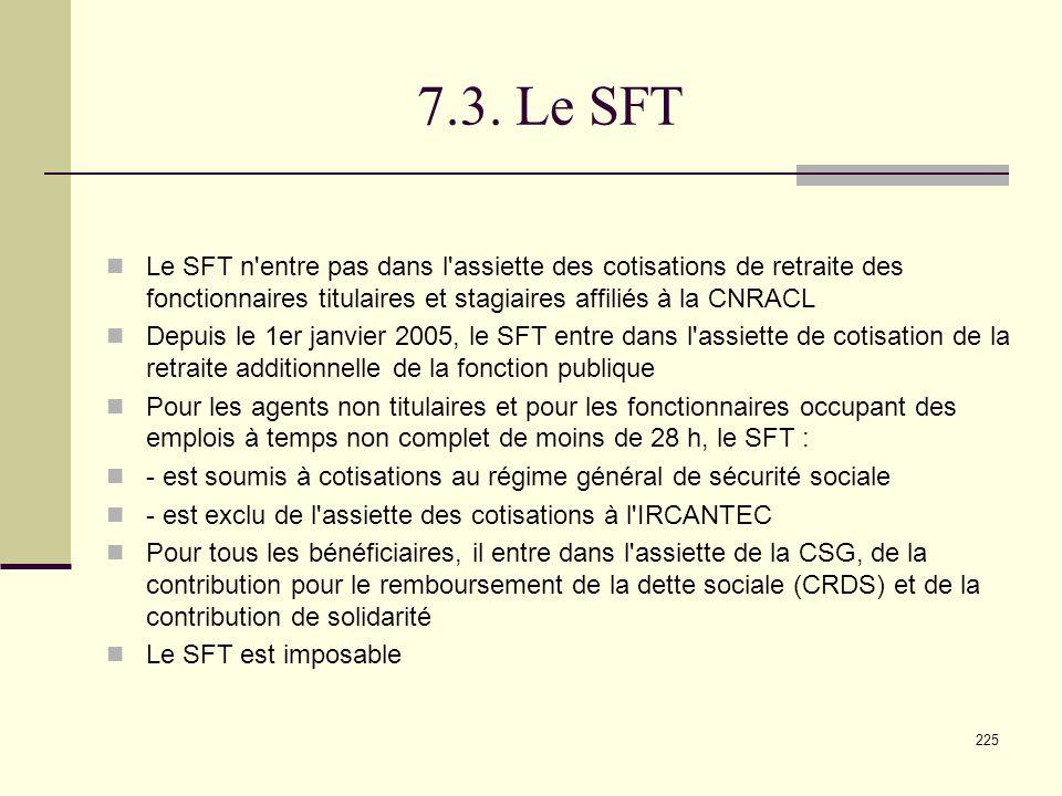 7.3. Le SFT Le SFT n entre pas dans l assiette des cotisations de retraite des fonctionnaires titulaires et stagiaires affiliés à la CNRACL.